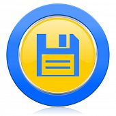 disk blue yellow icon data sign