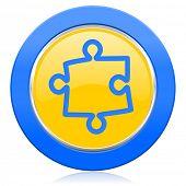 puzzle blue yellow icon