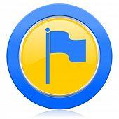 flag blue yellow icon