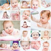 collage of a beautiful baby in a towel in bed and in the bathroom