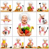 collage of little cute girl in chef's hat with fruit and vegetables in the kitchen preparing a meal on a white background