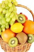 Assortment of fruits in basket close-up