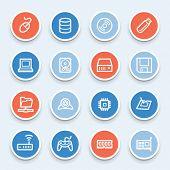 Computer components web icons set