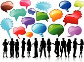 stock photo of person silhouette  - Silhouettes of business people talking with lots of speech bubbles - JPG