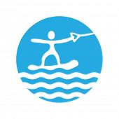 wakeboard, water sport,  vector icon