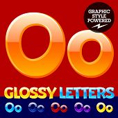 Vector set of glossy modern alphabet in different colors. Letter O. Also includes graphic styles