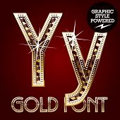 Vector set of gold rich alphabet with diamonds. Letter Y