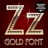 Vector set of gold rich alphabet with diamonds. Letter Z