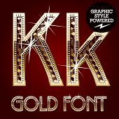 Vector set of gold rich alphabet with diamonds. Letter K
