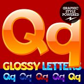 Vector set of glossy modern alphabet in different colors. Letter Q. Also includes graphic styles