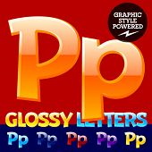 Vector set of glossy modern alphabet in different colors. Letter P. Also includes graphic styles