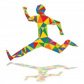 An image of an abstract runner in a low poly style.