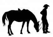 stock photo of horse-riders  - cowboy with his horse silhouette - JPG