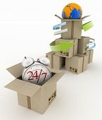 Executing online delivery of goods in the stream 24 hours. Logistics concept. 3d illustration on white background
