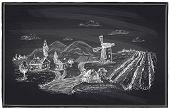 Rural landscape, windmill and vineyard chalk illustration.