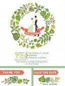 Cute wedding invitation with bride, groom ,green leaves wreath