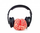 Human Brain Rubber With Headphones