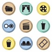 Flat Design Cinema Icons.