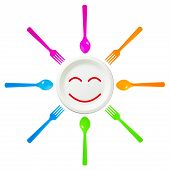 Spoon And Fork Surround Smile Disposable Dish