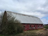 stock photo of red barn  - This is a classic old red barn with peeling paint that is being weathered by its surroundings - JPG
