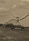 Agricultural Irrigation System in Sepia Tones
