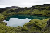 picture of volcanic  - Beautiful volcanic green lake with reflection  - JPG