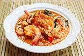 pic of thai cuisine  - Tom Yum Goong spicy soup with shrimp  - JPG