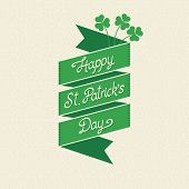 Happy St. Patrick's Day lettering on a ribbon
