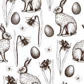 Vector Background With Hare And Narcissus Flowers Sketch.