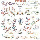 Doodle floral decor set. Colored watercolor, pencil hand sketched