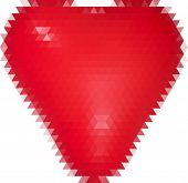 illustration with single red heart from triangles isolated on white background