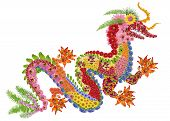 stock photo of fiery  - The red fiery Chinese dragon is made from fresh summer flowers - JPG