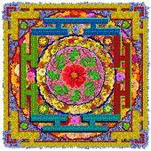 Isolated Floral Buddha's Square Mandala