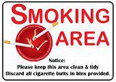 image of discard  - Smoking area sign printable sticker - JPG
