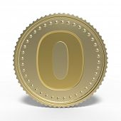 Golden number 0 isolated on white background