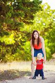 pic of woman red blouse  - A young mother - JPG