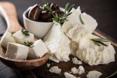 foto of greeks  - Greek cheese feta - JPG