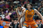 VALENCIA, SPAIN - FEBRUARY 15: Mejri and Loncar 25 during Spanish League match between Valencia Basket Club and Real Madrid at Fonteta Stadium on February 15, 2015 in Valencia, Spain