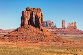stock photo of butt  - Monument Valley West and East Mittens Butte Utah National Park - JPG