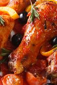 Chicken Legs In Tomato Sauce With Vegetables Macro Vertical