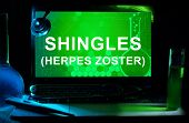 pic of shingles  - Computer with words Shingles  - JPG
