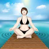 woman practicing yoga on wooden pier at sea with cloudscape