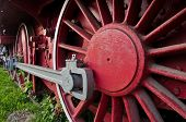 Red wheels of big old steam locomotive from Orient Express