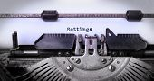 stock photo of old vintage typewriter  - Vintage inscription made by old typewriter settings - JPG