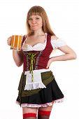 woman Oktoberfest drinks beer