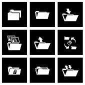 Vector black folder icon set