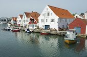 Exterior of the traditional wooden houses in Skudeneshavn, Norway.