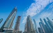 Dubai - AUGUST 9, 2014: Dubai Marina district on August 9 in UAE, Dubai. Dubai Marina district is a popular residential and business area.