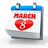 3D Women's Day Calendar, 8 March
