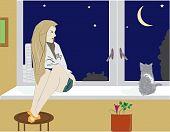 girl sitting in the windowsill